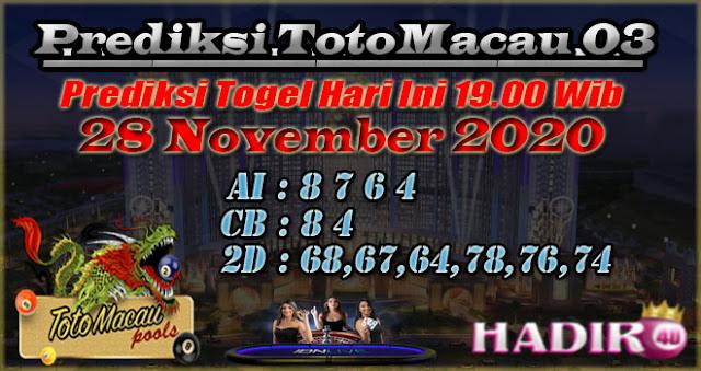 PREDIKSI TOTO MACAU03 28 NOVEMBER 2020