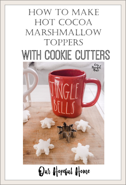 red Rae Dunn Jingle Bells Christmas mug marshmallows