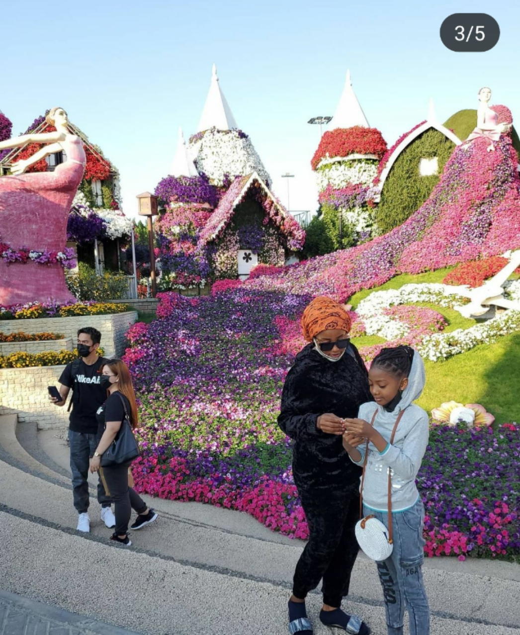 Take A look Of These Pictures Hafasat Idris Snapped At Dubai Miracle Garden