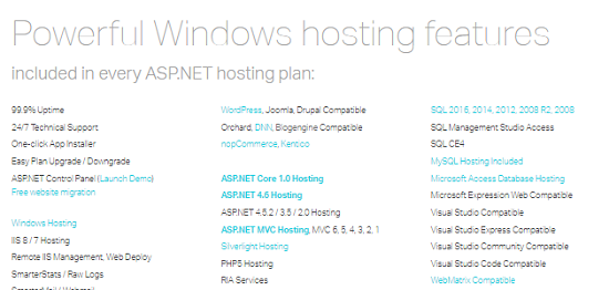 windows hosting features,ASP.NET