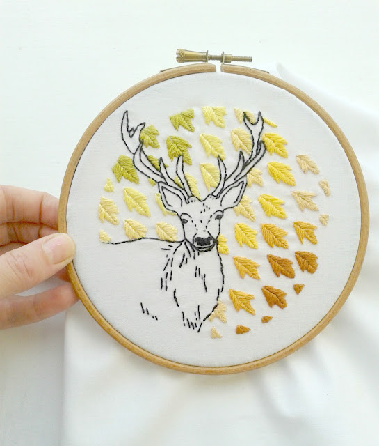 embroidery, deer, autumn leaves, Jenny Blair