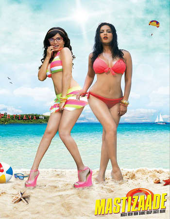 Poster Of Mastizaade 2016 Hindi 300MB DVDRip 480p ESubs Free Download Watch Online