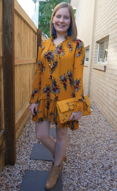 zaful floral ruffle hem mustard dress with balenciaga mango envelope clutch nude ankle boots statement earrings | awayfromblue