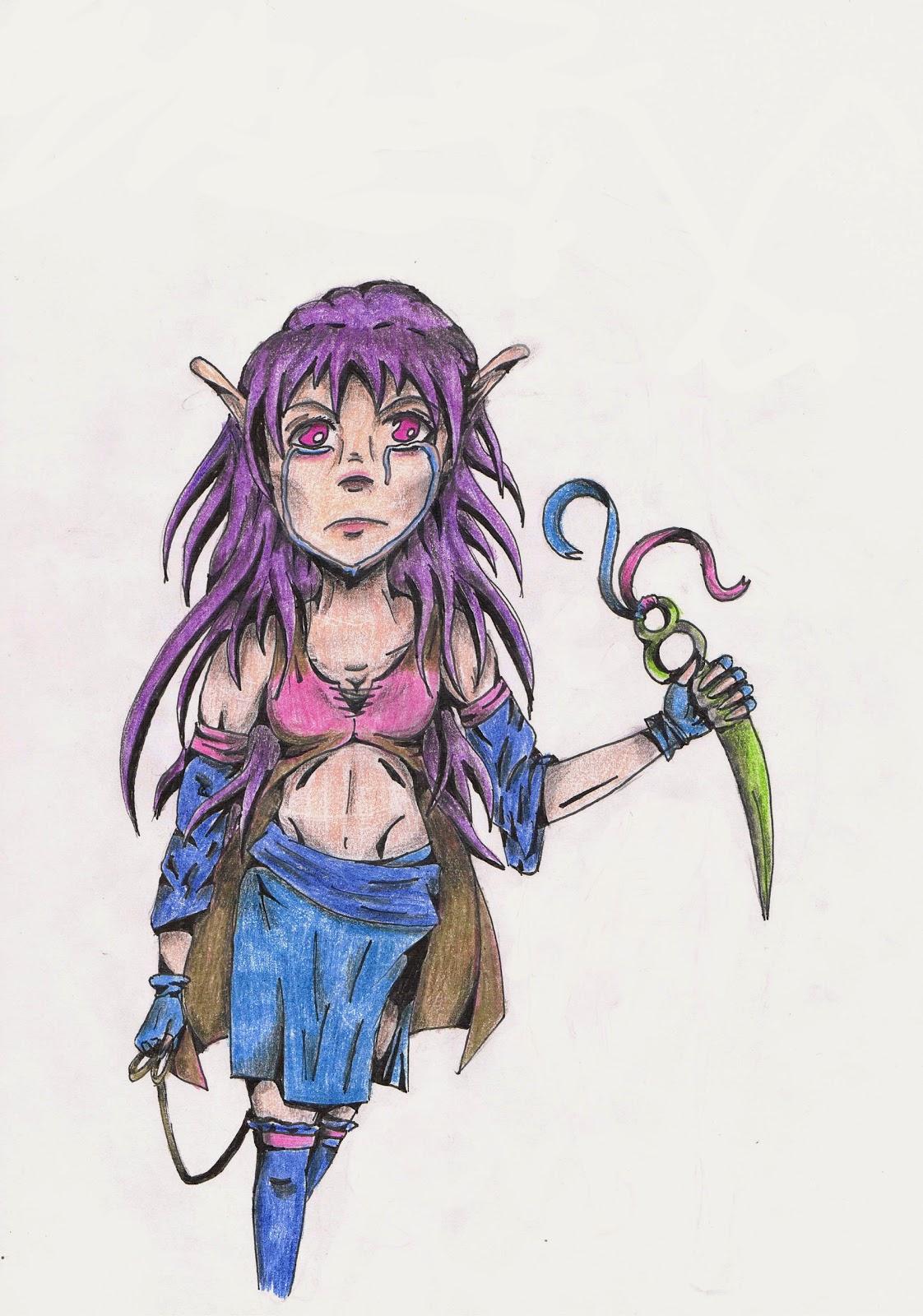 Smutna elfka z nożem