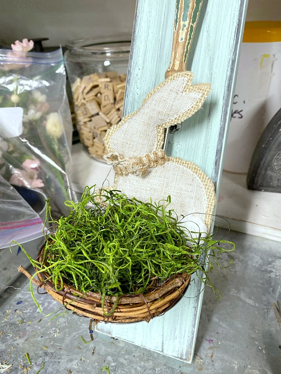 Vintage Ladle Bunny Nest for Spring with green moss