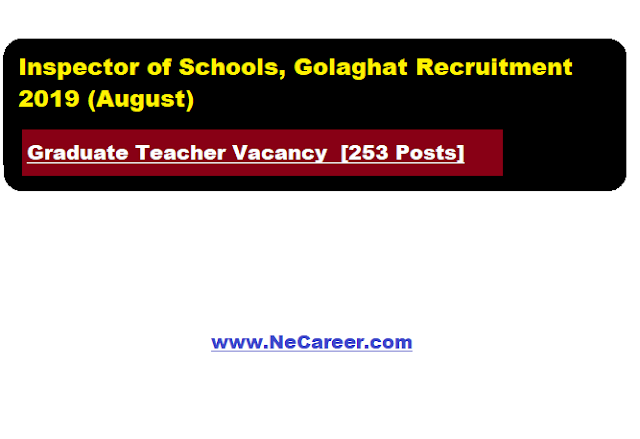 Inspector of Schools, Golaghat Recruitment 2019 (August) | Graduate Teacher Vacancy  [253 Posts]