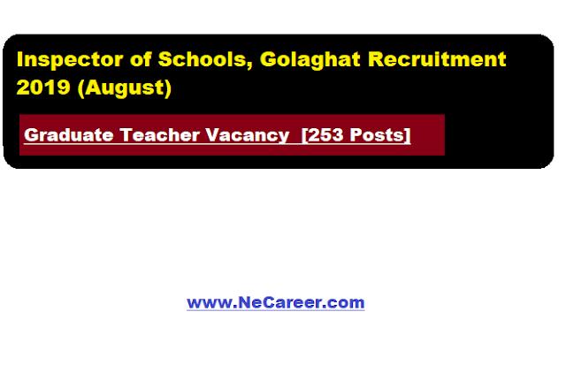 Inspector of Schools, Golaghat Recruitment 2019 (August)   Graduate Teacher Vacancy  [253 Posts]