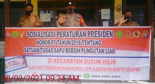Sapu Bersih Pungli, Kanitsabhara Polsek Dushil Sampaikan Perpres Nomor 87 Tahun 2016
