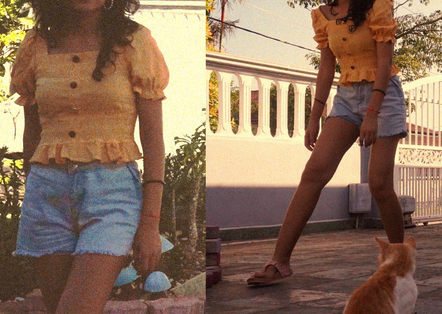 Crop denim shorts OOTD