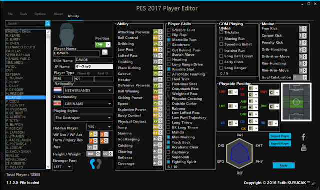 PES 2017 Player Editor V1.1