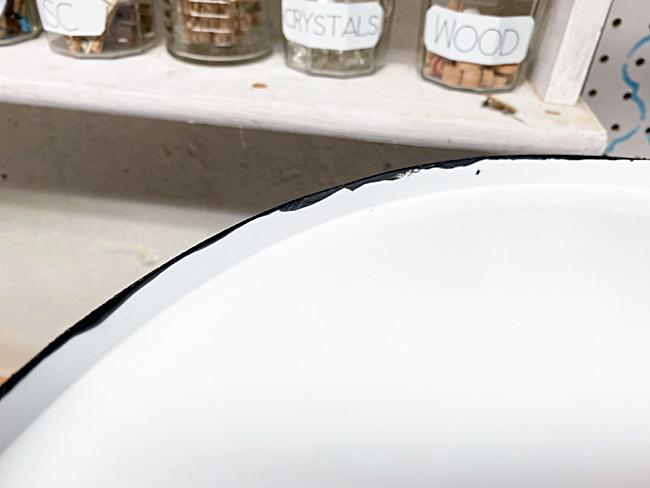 chippy black enamelware edge