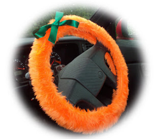 Pumpkin Orange fuzzy steering wheel cover with green bow - Poppys Crafts