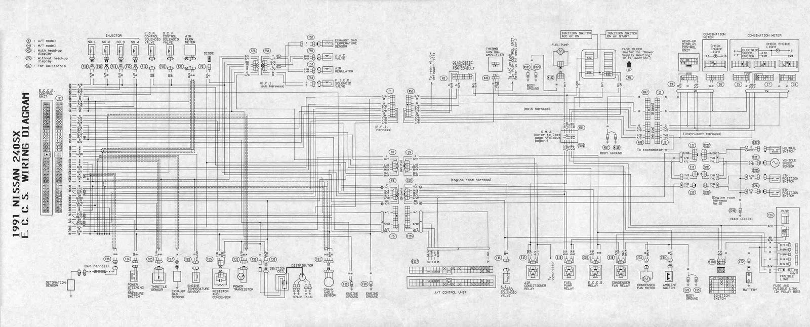 Nissan+240SX+1991+ECCS+Wiring+Diagram 240sx wiring harness diagram 97 nissan 240sx wiring diagram \u2022 free nissan wiring harness diagram at soozxer.org