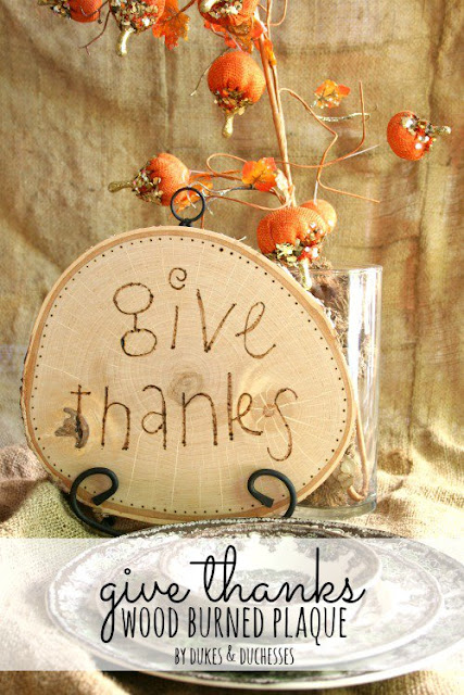 give thanks wood burned sign
