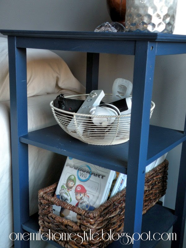 Pretty video game storage - wire and natural baskets