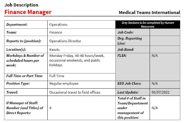 Finance Manager at Medical Teams International July 2021