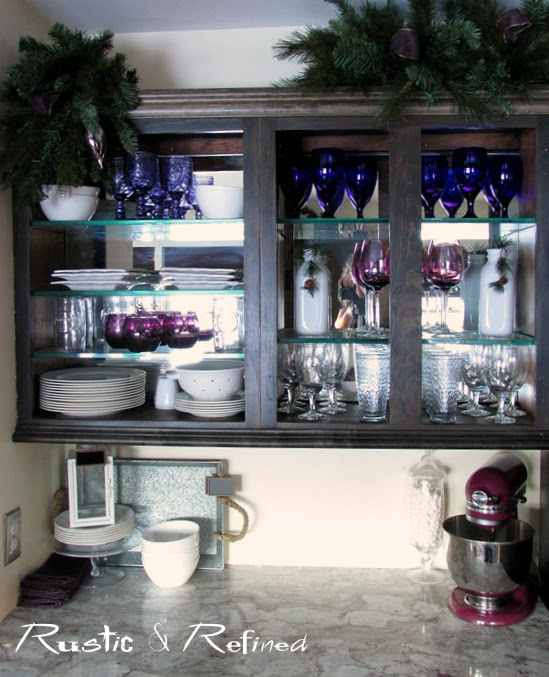 Adding holiday style to kitchen cabinetry.
