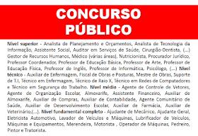 Aberto concurso público para todos os níveis de escolaridade. Salários até R$6.300,00