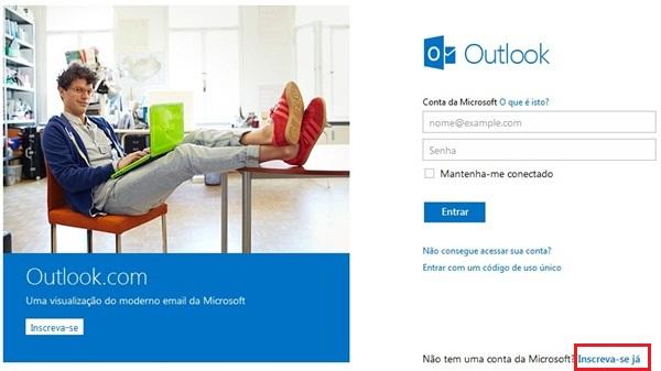 Como abrir uma conta no Outlook