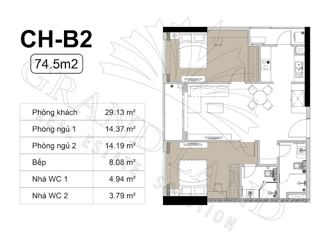 Thiết kế căn hộ 2 phòng ngủ Harmony Square 199 Nguyễn Tuân