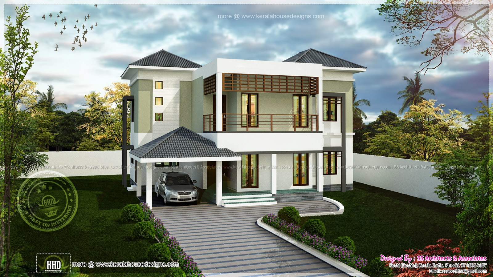Modern two storied house exterior kerala home design and for Home front design in indian style