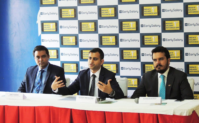 From Left - Amit Nosina, Vice President of EarlySalary.com, Akshay Mehrotra, Co-founder & CEO of EarlySalary & Ayan Agarwal AVP of Transc
