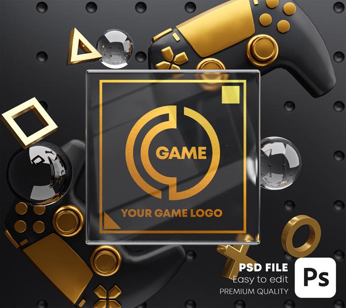 Gold Glass Golden Logo Mockup