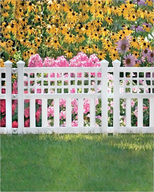 garden edging fence white wood panel Canada