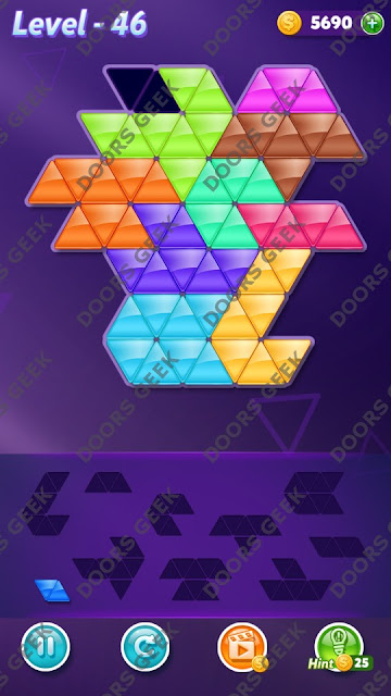 Block! Triangle Puzzle 10 Mania Level 46 Solution, Cheats, Walkthrough for Android, iPhone, iPad and iPod