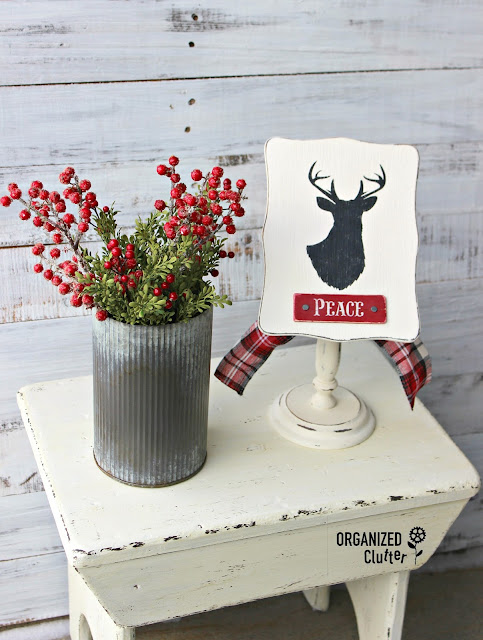 Vintage Wooden Recipe Card Holder Repurposed as Christmas Decor #stencil #deersilhouette #rusticChristmas #repurposed #repurpose