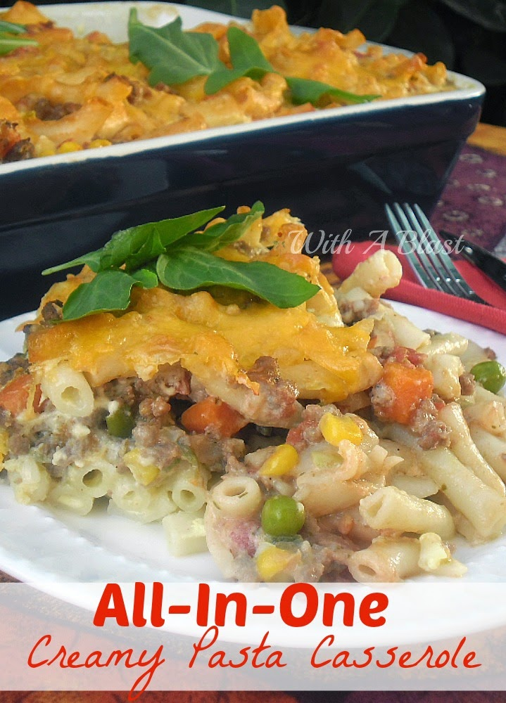 Pasta, veggies, ground beef and a creamy sauce, all in one dish, make this a family favorite