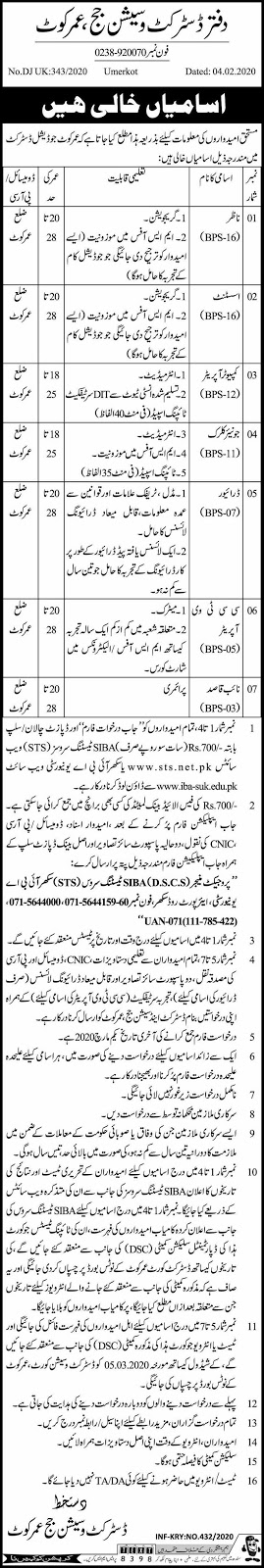 Latest Jobs For Computer Operator, Junior Clerk in District and Session Court Umarkot  February 2020