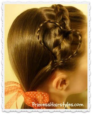 Heart headband hairstyle for Valentine's Day