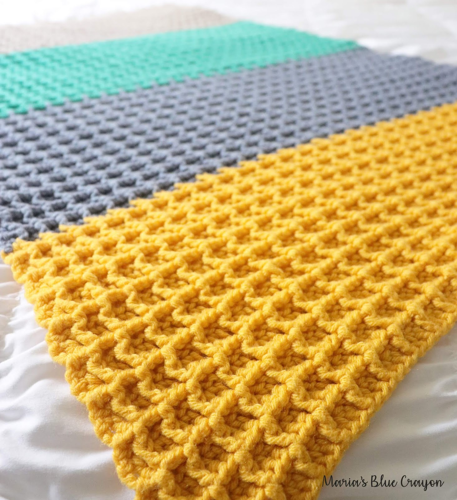 Color Block Crochet Blanket Free Crochet Pattern Marias Blue Crayon