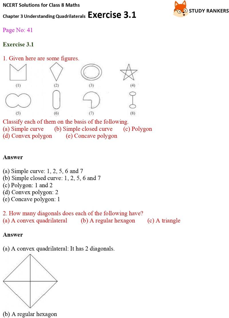 NCERT Solutions for Class 8 Maths Ch 3 Understanding Quadrilaterals Exercise 3.1 1
