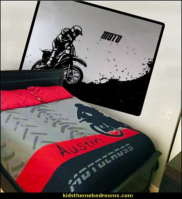 Motocross Bedding, Motocross Comforter, Motocross Duvet, Dirt Bike Bedding  dirt bike wall decal stickers