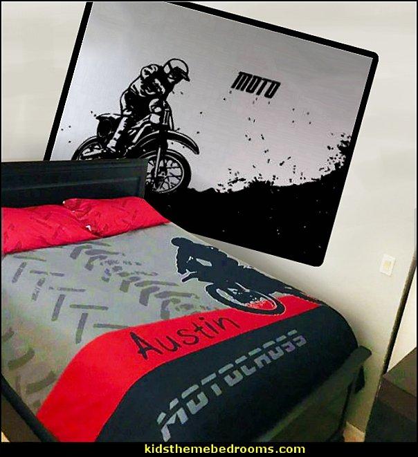 Motocross Bedding, Motocross Comforter, Motocross Duvet, Dirt Bike Bedding  dirt bike wall decal stickers
