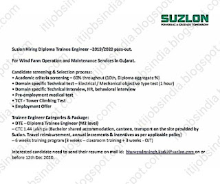 Diploma Job Vacancy In Suzlon Energy Limited For Position Diploma Trainee Engineer Apply Online
