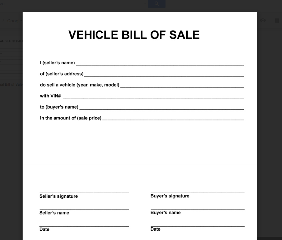 simple bill of sale auto