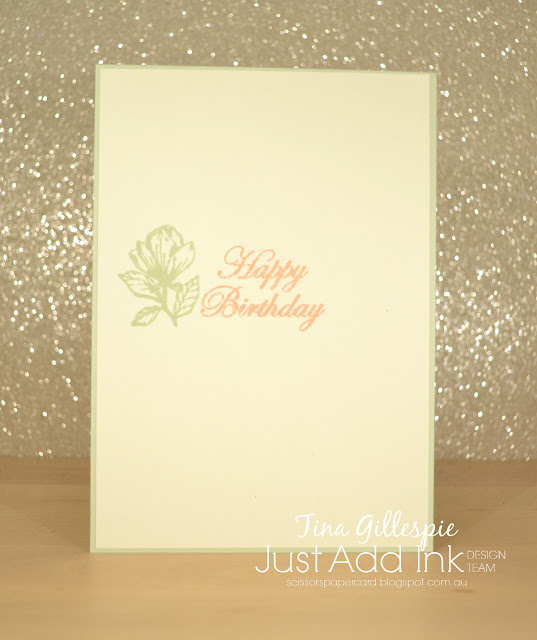 scissorspapercard, Stampin' Up!, Just Add Ink, Magnolia Blooms, Hugs From Shelli, Subtle EF, Stampin' Blends, Faux Fabric Technique