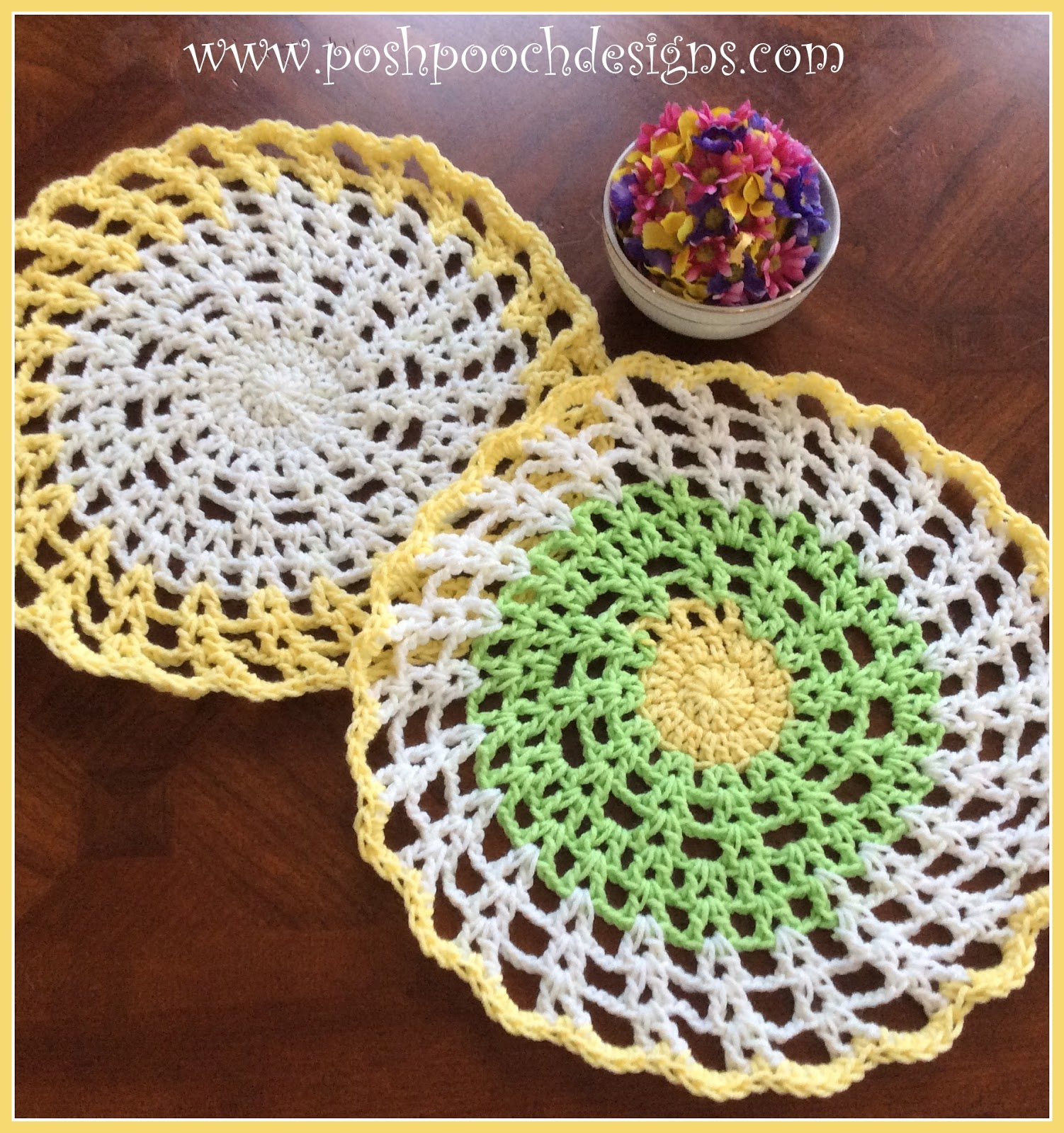Posh Pooch Designs Dog Clothes Round Cotton Placemat Free Crochet