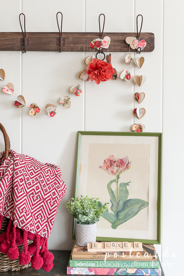 vintage paper heart garland and vintage tulip botanical print