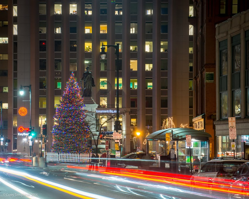 Portland, Maine USA November 2016 photo by Corey Templeton looking down Congress Street downtown at night towards Monument Square and Christmas Tree during the holidays.