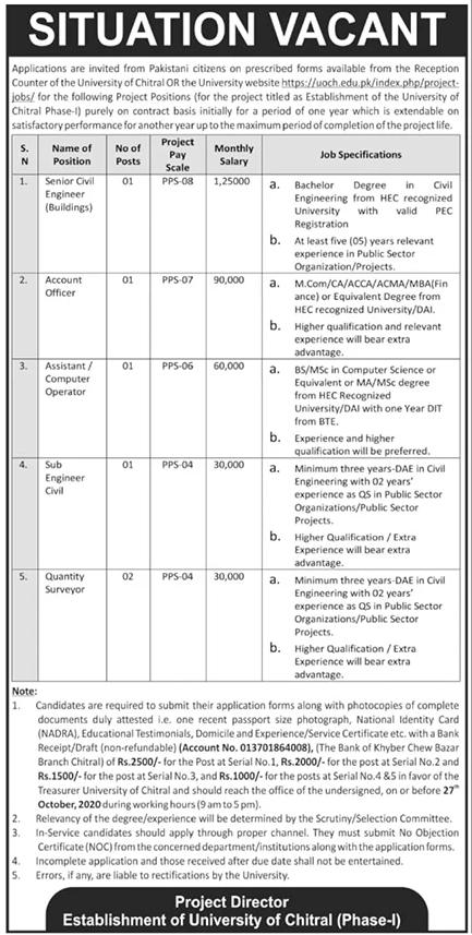 University of Chitral Job Advertisement in Pakistan - Apply Online - www.uoch.edu.pk