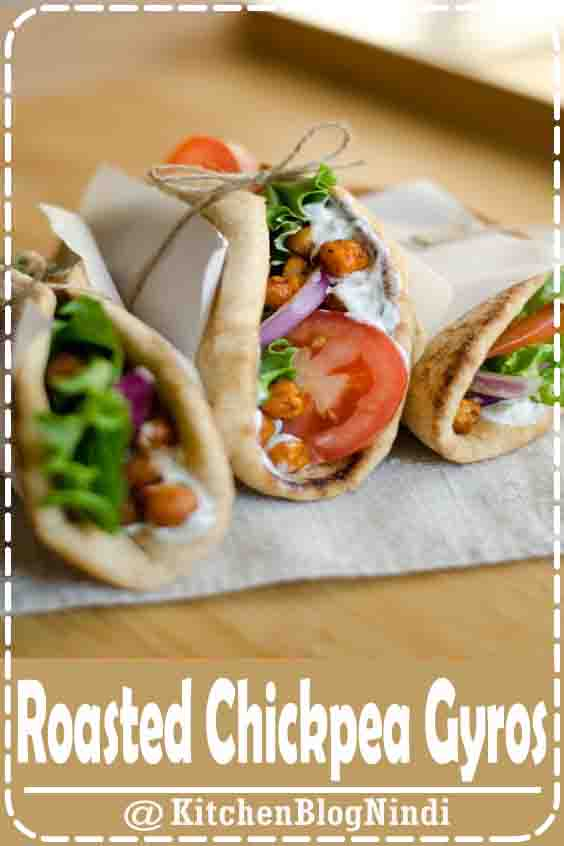 4★★★★★ | Simple and delicious Mediterranean inspired vegetarian Roasted Chickpea Gyros with refreshing tzatziki sauce. #Roasted #Chickpea #Gyros