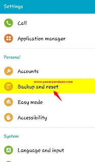 masuk ke menu backup & reset