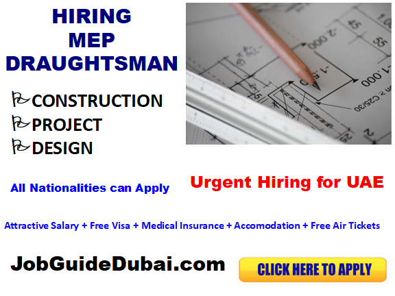 FREE VISA MEP Draughtsman jobs in UAE with best and Group companies with attractive salary and benefits