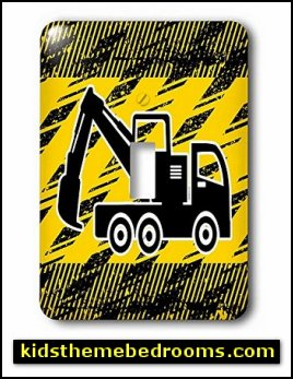 Construction - Construction Digger Truck in Black and Yellow - Light Switch Covers  construction bedroom decor