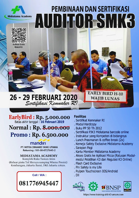 Auditor SMK3 tgl. 26-29 Februari 2020 di Jakarta