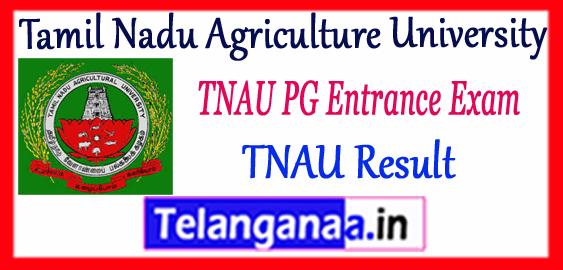 TNAU Tamil Nadu Agriculture University PG Entrance Results 2017-18 Counselling Merit List